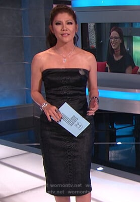 Julie's black snakeskin strapless dress on Big Brother