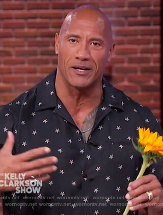 Dwayne Johnson's black star print shirt on The Kelly Clarkson's Show