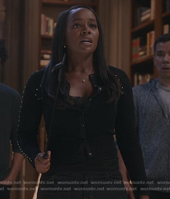 Michaela's black studded cardigan on How to Get Away with Murder