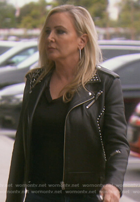 Shannon's black studded moto jacket on The Real Housewives of Orange County