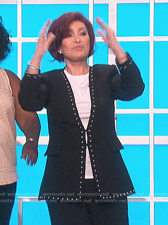 Sharon's black studded trim jacket on The Talk