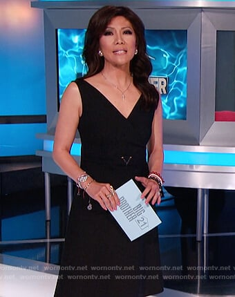 Julie's black V belt sleeveless dress on Big Brother