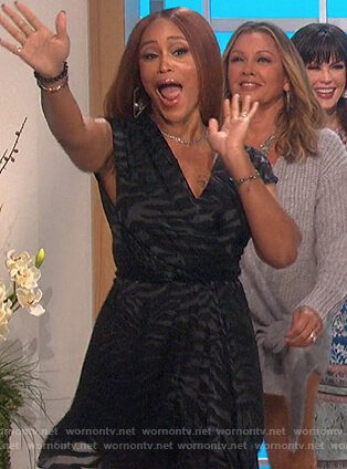 Eve's black zebra stripe wrap dress on The Talk