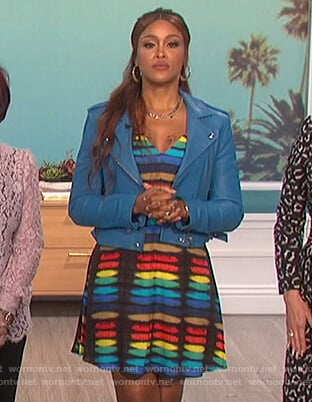 Eve's rainbow print dress on The Talk