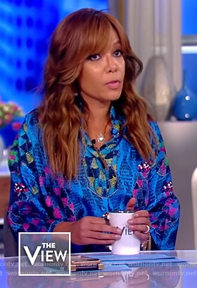 Sunny's blue printed satin dress on The View