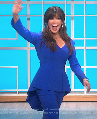 Marie's blue peplum dress on The Talk
