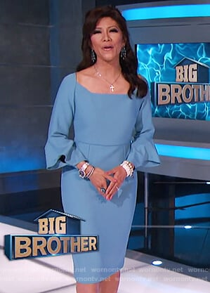 Julie's blue sheath dress with flared sleeves on Big Brother