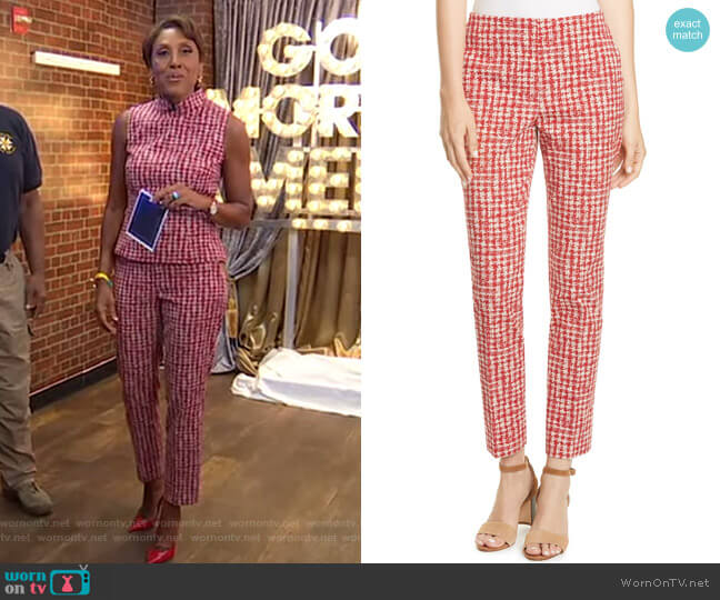 Tarera Slim Jacquard Ankle Pants by Boss worn by Robin Roberts  on Good Morning America