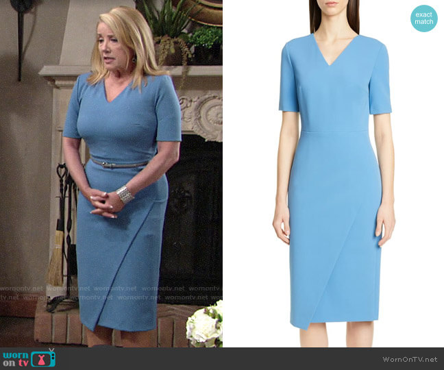 BOSS Daissa Faux Wrap Sheath Dress worn by Nikki Reed Newman (Melody Thomas-Scott) on The Young & the Restless