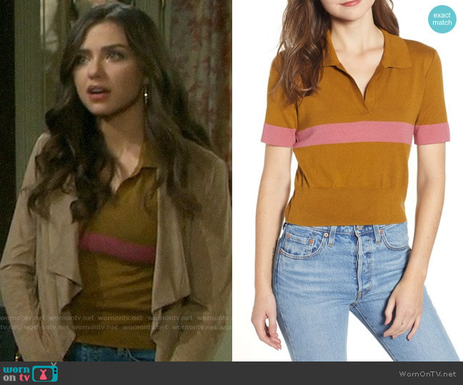 BP Stripe Polo Sweater worn by Ciara Brady (Victoria Konefal) on Days of our Lives
