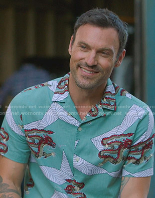Brian's green dragon print shirt on BH90210