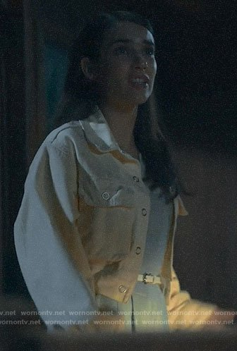 Brooke's cropped pastel yellow jacket on American Horror Story