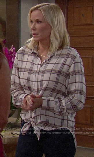 Brooke's white plaid shirt on The Bold and the Beautiful