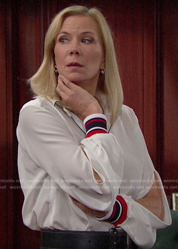 Brooke's white blouse with striped cuffs on The Bold and the Beautiful