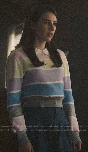 Brooke's pastel striped sweater on AHS1984