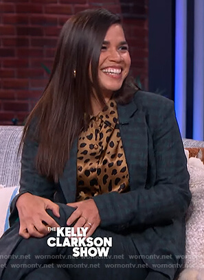 America Ferrera's brown animal print blouse on The Kelly Clarkson Show