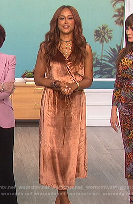 Eve's velvet wrap dress on The Talk
