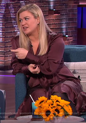 Kelly's burgundy satin wrap dress on The Kelly Clarkson Show