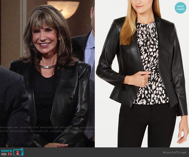 Calvin Klein Asymmetrical Faux-Leather Jacket worn by Jill Abbott (Jess Walton) on The Young & the Restless