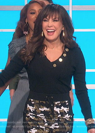 Marie's camo print skirt and top on The Talk
