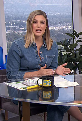 Carissa's denim jumpsuit on E! News Daily Pop