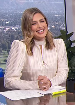 Carissa's white striped keyhole top on E! News Daily Pop