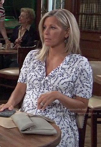 Carly's white floral maternity dress on General Hospital
