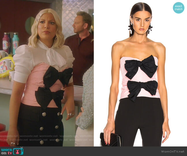 Strapless Bow Top by Carmen March worn by Tori Spelling  on BH90210