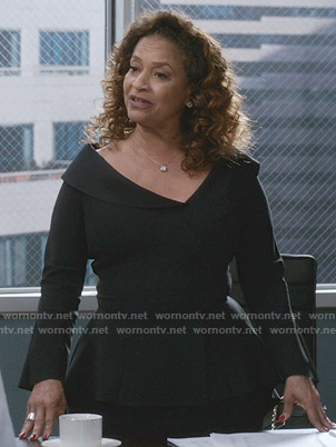 Catherine's black peplum dress on Greys Anatomy