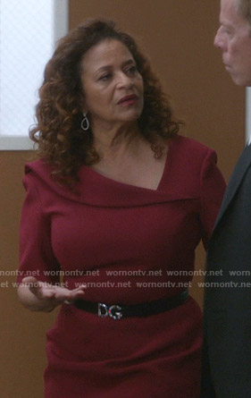 Catherine's red asymmetric neck sheath dress on Greys Anatomy