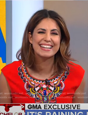 Cecilia's red beaded trim top on Good Morning America