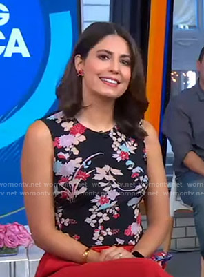 Cecilia's black floral sleeveless top on Good Morning America