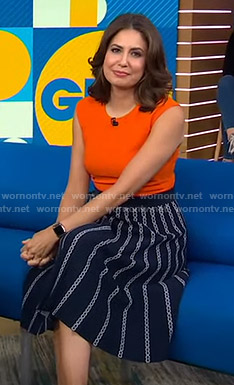 Cecilia's navy chain print skirt on Good Morning America