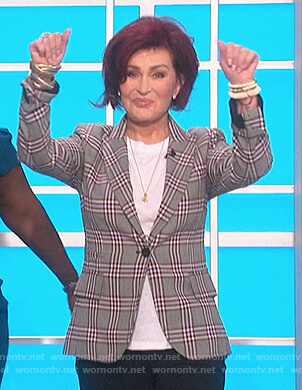 Sharon's gray plaid blazer on The Talk