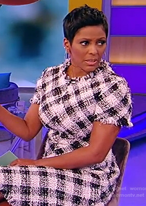 Tamron's tweed check dress on the Tamron Hall Show