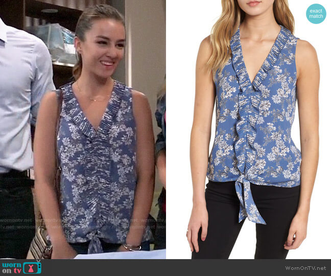 Chelsea28 Ruffle Tie Front Top worn by Kristina Corinthos (Lexi Ainsworth) on General Hospital