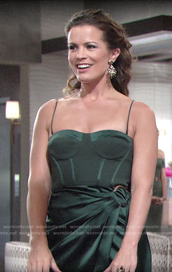 Chelsea's green bustier dress with ring detail on The Young and the Restless