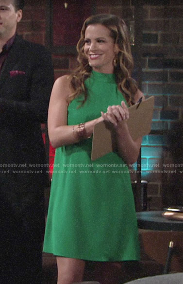 Chelsea's green shift dress on The Young and the Restless