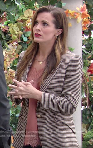 Chelsea's houndstooth blazer and lace trim top on The Young and the Restless