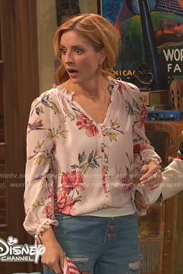 Chelsea's pink floral v-neck blouse on Ravens Home