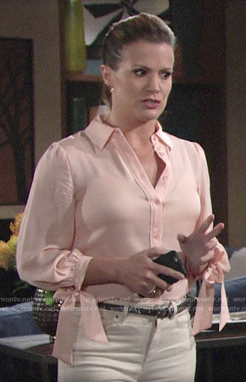 Chelsea's pink tie cuff shirt on The Young and the Restless