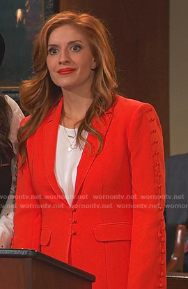 Chelsea's red button embellished blazer on Ravens Home