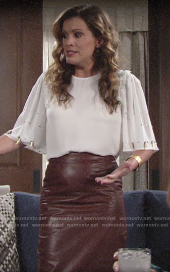 Chelsea's white blouse with beaded sleeves on The Young and the Restless