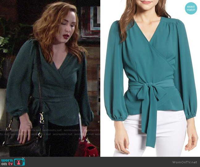 Chelsea28 Wrap Top in Teal Balsam worn by Mariah Copeland (Camryn Grimes) on The Young & the Restless