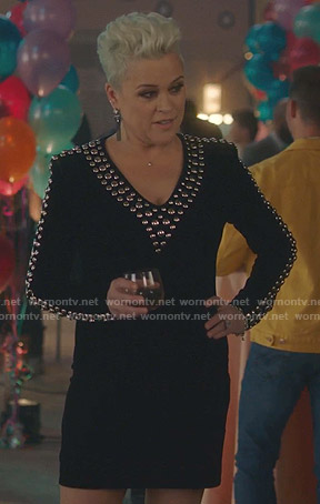 Christine's black studded v-neck dress on BH90210