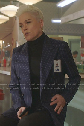Christine's navy pinstripe blazer on BH90210