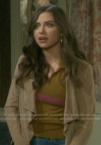 Ciara's tan polo top with pink stripe on Days of our Lives