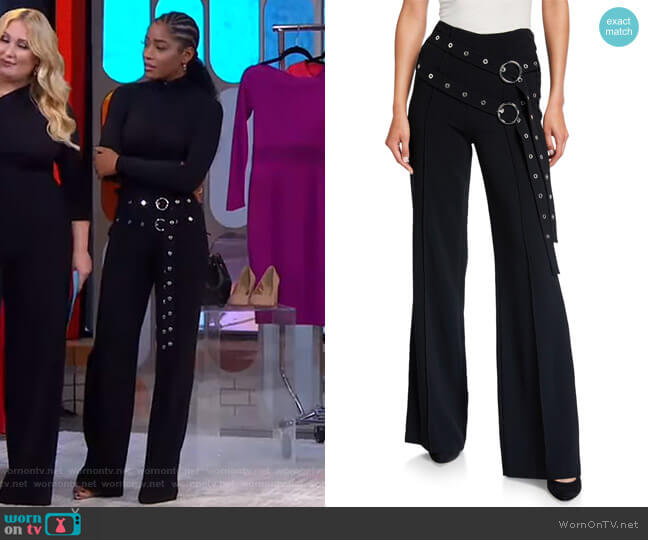 Jessi Double Belt-Detail Pants by Cinq a Sept worn by Keke Palmer  on Good Morning America
