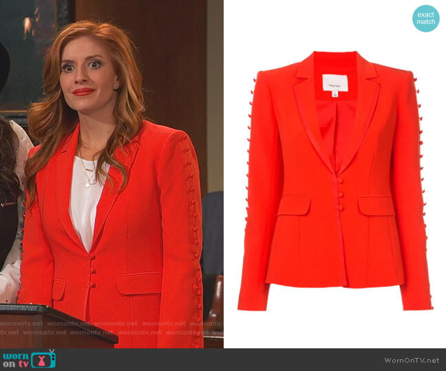 Button Embellished Fitted Blazer by Cinq a Sept worn by Chelsea Grayson (Anneliese van der Pol) on Ravens Home