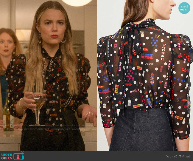 Claudie Pierlot Borisal Badges-print Chiffon Top worn by Ainsley Howard (Rebecca Rittenhouse) on Four Weddings & a Funeral